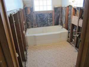 bathroom with plaster removed