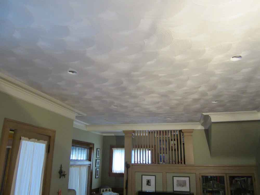 fan textured plaster on ceiling