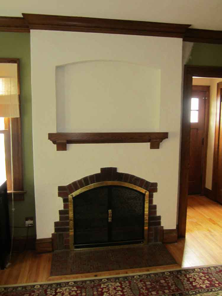 fireplace with plaster repaired