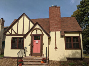 home with repaired stucco walls